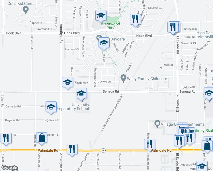 map of restaurants, bars, coffee shops, grocery stores, and more near 14010 Kicking Horse Circle in Victorville