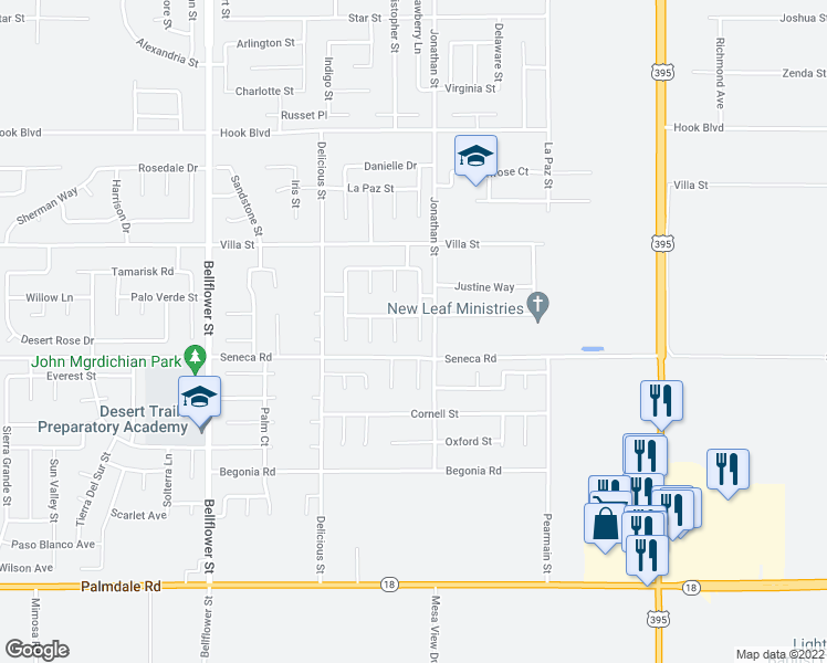 map of restaurants, bars, coffee shops, grocery stores, and more near 14532 Blue Sage Road in Adelanto