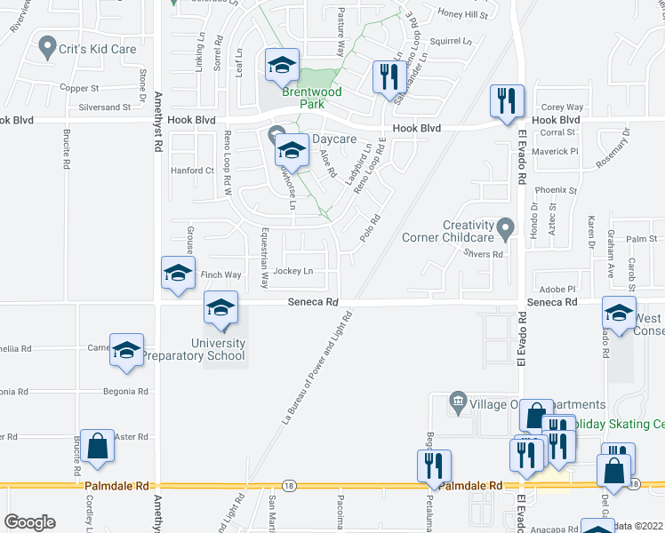 map of restaurants, bars, coffee shops, grocery stores, and more near 14577 Crossing Trail in Victorville