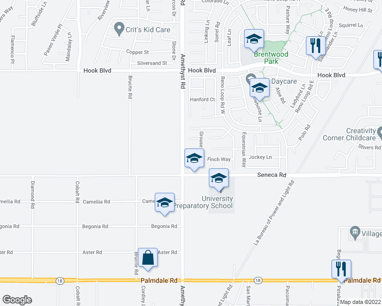 map of restaurants, bars, coffee shops, grocery stores, and more near 13733 Dove Court in Victorville