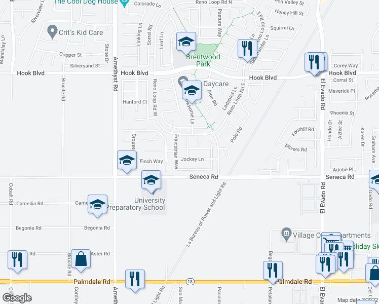 map of restaurants, bars, coffee shops, grocery stores, and more near 13981 Horseshoe Way in Victorville
