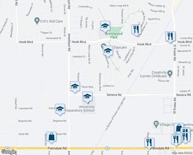 map of restaurants, bars, coffee shops, grocery stores, and more near 14625 Hummingbird Road in Victorville