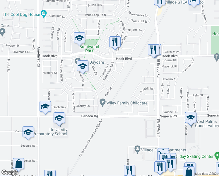 map of restaurants, bars, coffee shops, grocery stores, and more near 14190 Round-Up Road in Victorville