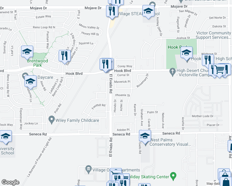 map of restaurants, bars, coffee shops, grocery stores, and more near 14530 Phoenix Street in Victorville