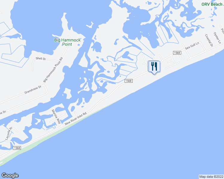 map of restaurants, bars, coffee shops, grocery stores, and more near 1847 New River Inlet Road in North Topsail Beach