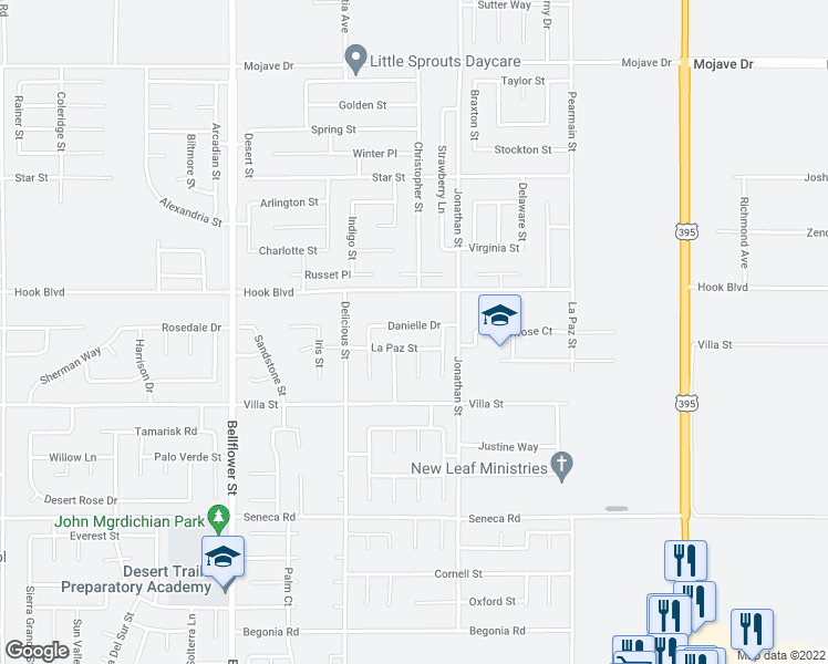 map of restaurants, bars, coffee shops, grocery stores, and more near 11625 Danielle Drive in Adelanto