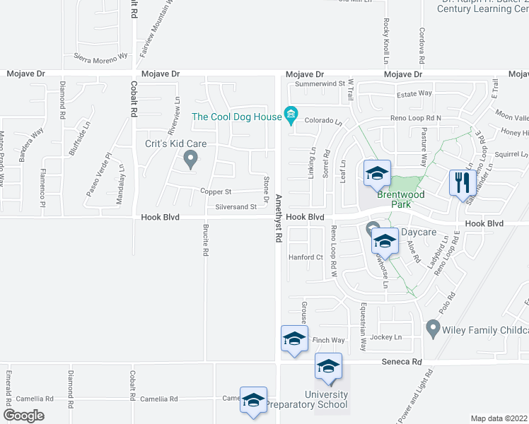 map of restaurants, bars, coffee shops, grocery stores, and more near 13673 Silversand Street in Victorville