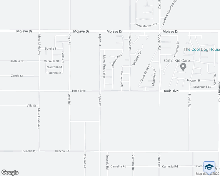 map of restaurants, bars, coffee shops, grocery stores, and more near 14916 Bandera Way in Victorville