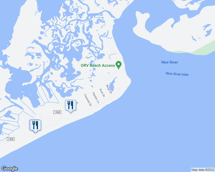 map of restaurants, bars, coffee shops, grocery stores, and more near River Drive in North Topsail Beach
