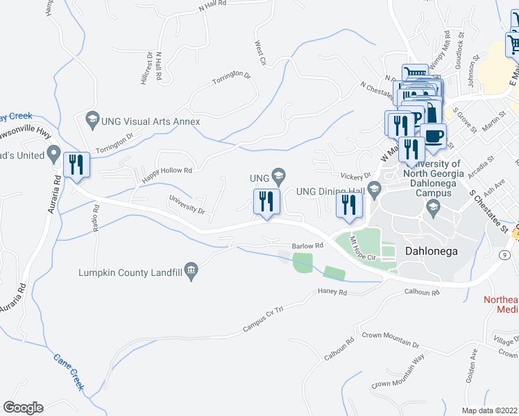 map of restaurants, bars, coffee shops, grocery stores, and more near 3 bellamy place in Dahlonega