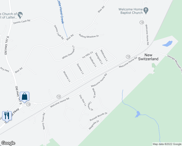 map of restaurants, bars, coffee shops, grocery stores, and more near Ivy Hills Circle in Mount Airy