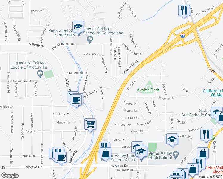 map of restaurants, bars, coffee shops, grocery stores, and more near 16103 Tawney Ridge Lane in Victorville