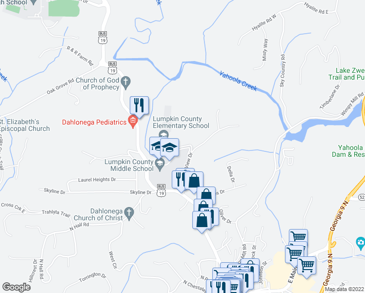 map of restaurants, bars, coffee shops, grocery stores, and more near 199 School Drive in Dahlonega