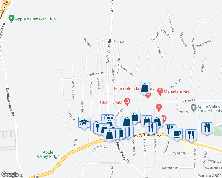 map of restaurants, bars, coffee shops, grocery stores, and more near 16221 Apple Valley Road in Apple Valley