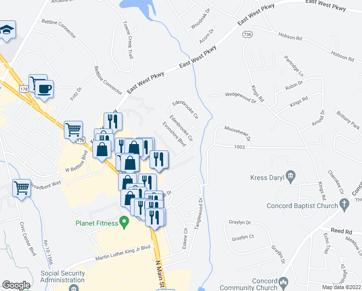map of restaurants, bars, coffee shops, grocery stores, and more near 111 Evonshire Boulevard in Anderson
