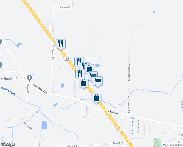 map of restaurants, bars, coffee shops, grocery stores, and more near 150 Merritt Drive in New Hope