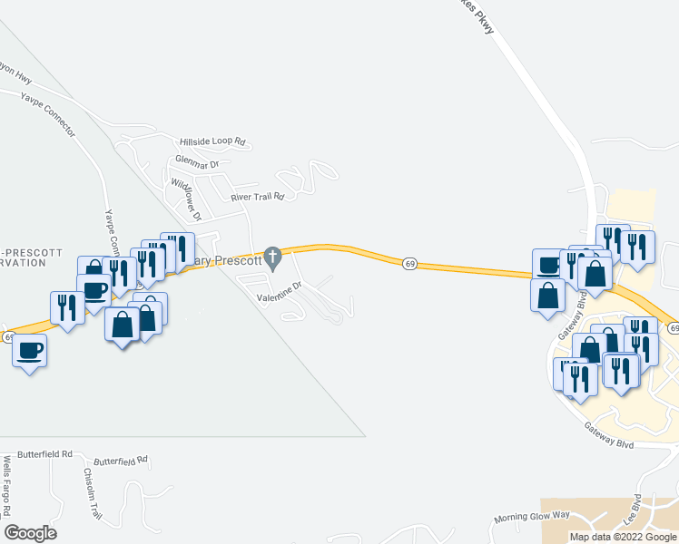 map of restaurants, bars, coffee shops, grocery stores, and more near 2410 Valentine Drive in Prescott