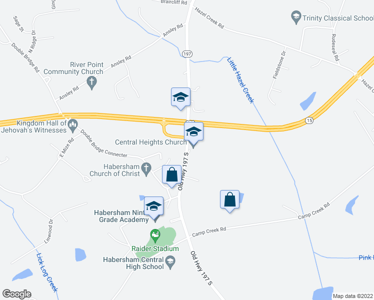 map of restaurants, bars, coffee shops, grocery stores, and more near 2474 Old Highway 197 South in Mount Airy
