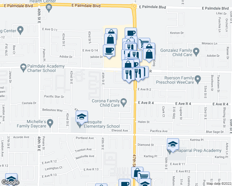 map of restaurants, bars, coffee shops, grocery stores, and more near 4551 Ridgewood Ct in Palmdale