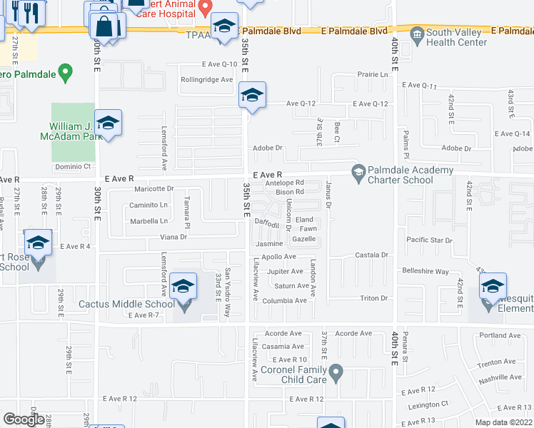 map of restaurants, bars, coffee shops, grocery stores, and more near 3524 East Avenue R in Palmdale