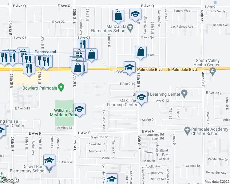 map of restaurants, bars, coffee shops, grocery stores, and more near 3234 Rollingridge Avenue in Palmdale