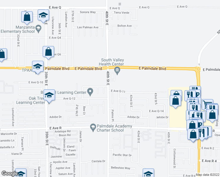 map of restaurants, bars, coffee shops, grocery stores, and more near 4005 East Avenue Q 11 in Palmdale