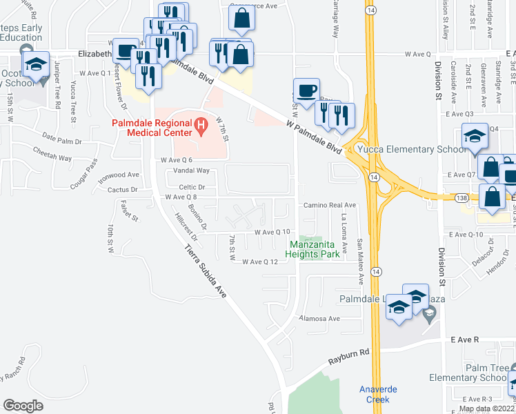 map of restaurants, bars, coffee shops, grocery stores, and more near 570 Knollview Court in Palmdale