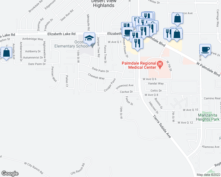map of restaurants, bars, coffee shops, grocery stores, and more near 38442 Cougar Pass in Palmdale