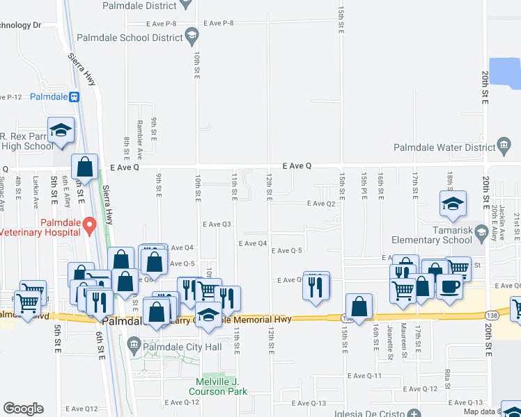 map of restaurants, bars, coffee shops, grocery stores, and more near 38675 12th Street East in Palmdale