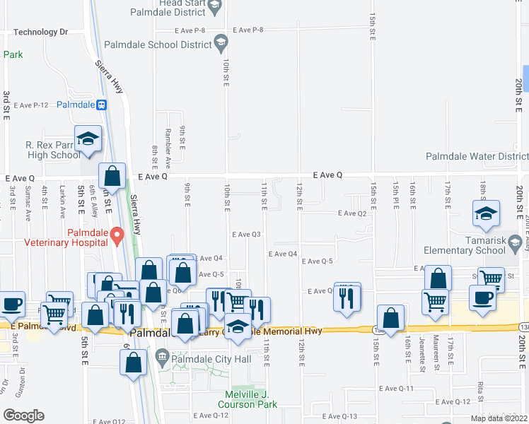 map of restaurants, bars, coffee shops, grocery stores, and more near 38707 11th Street East in Palmdale