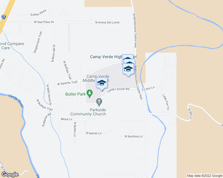 map of restaurants, bars, coffee shops, grocery stores, and more near 145 Camp Lincoln Road in Camp Verde