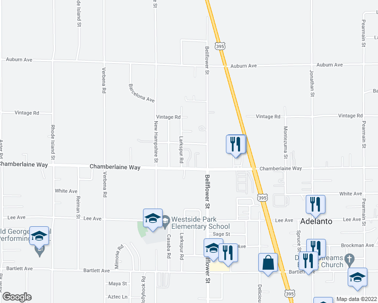 map of restaurants, bars, coffee shops, grocery stores, and more near 11200 Chamberlaine Way in Adelanto