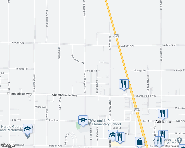 map of restaurants, bars, coffee shops, grocery stores, and more near 18615 Casaba Road in Adelanto