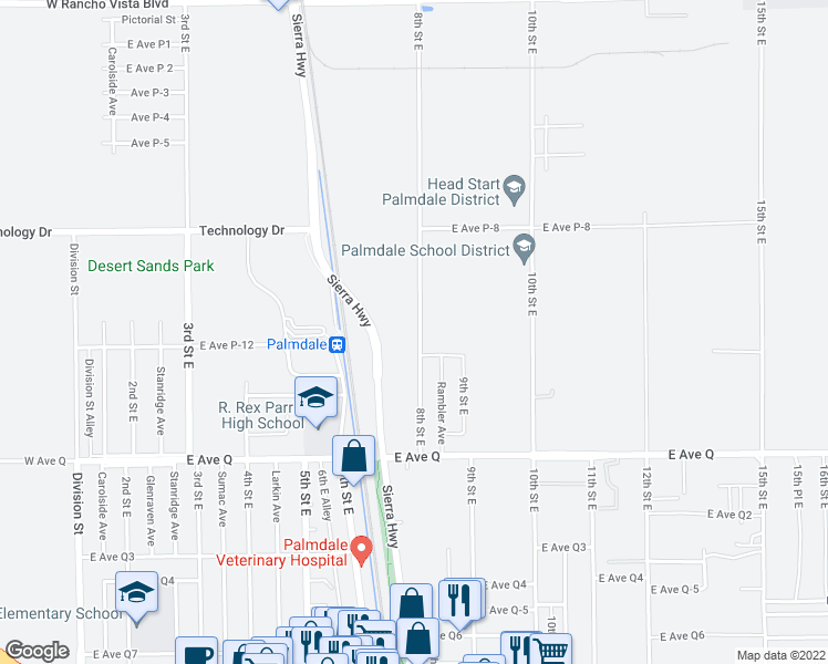 map of restaurants, bars, coffee shops, grocery stores, and more near 39011 8th Street East in Palmdale
