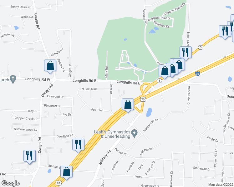 map of restaurants, bars, coffee shops, grocery stores, and more near 8 Dark Forest Place in Benton