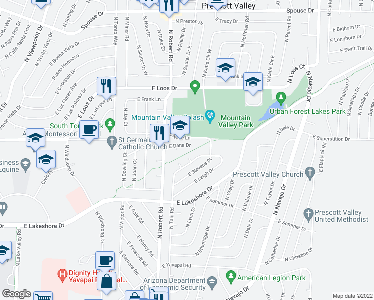 map of restaurants, bars, coffee shops, grocery stores, and more near 8300 East Dana Drive in Prescott Valley