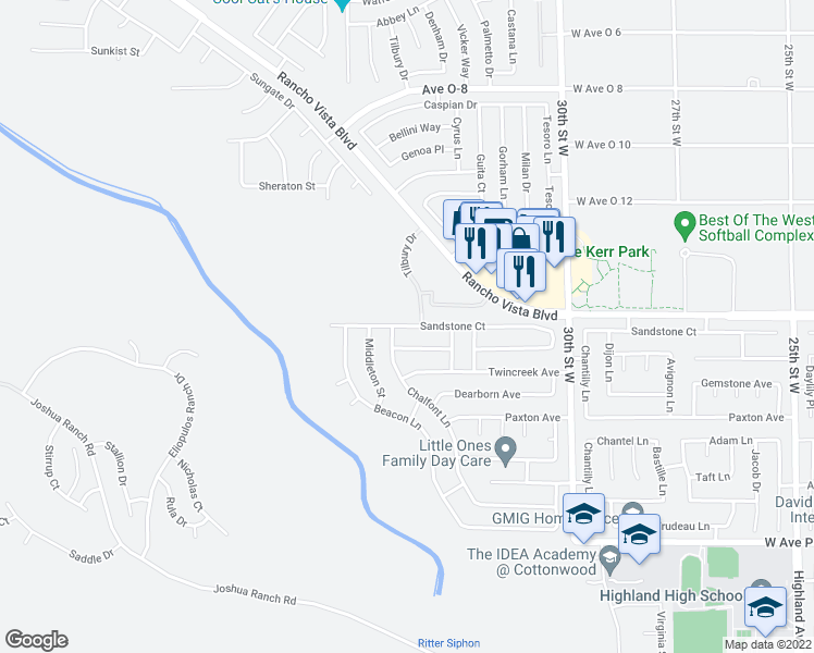 map of restaurants, bars, coffee shops, grocery stores, and more near 3255 Sandstone Court in Palmdale