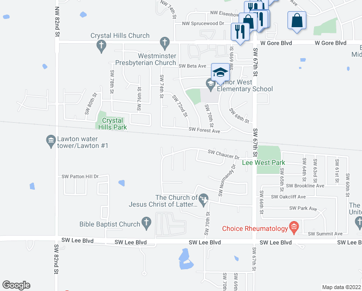 map of restaurants, bars, coffee shops, grocery stores, and more near 6944 Southwest Forest Avenue in Lawton