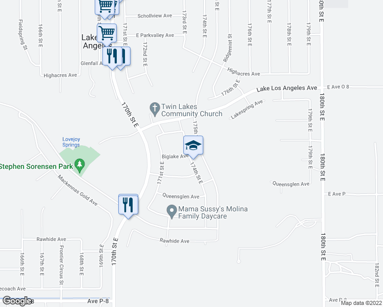 map of restaurants, bars, coffee shops, grocery stores, and more near 39728 174th Street East in Palmdale