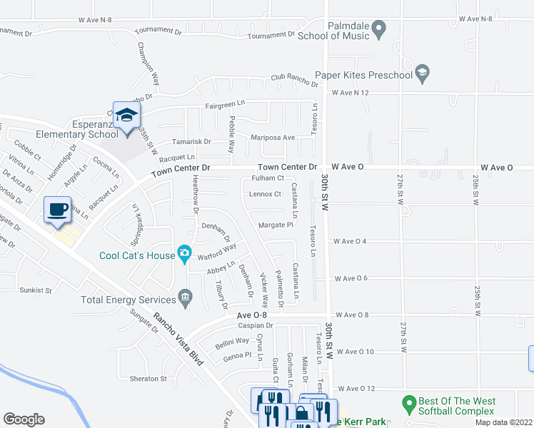 map of restaurants, bars, coffee shops, grocery stores, and more near 3152 Lantana Court in Palmdale