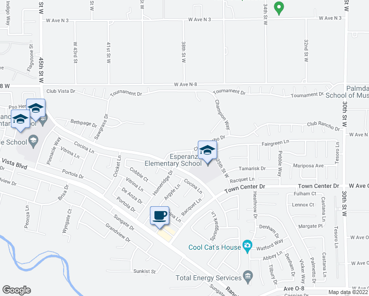 map of restaurants, bars, coffee shops, grocery stores, and more near 3801 Club Rancho Drive in Palmdale