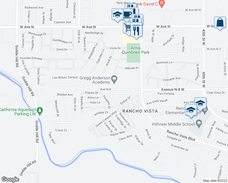 map of restaurants, bars, coffee shops, grocery stores, and more near 5109 Meadowsweet Drive in Palmdale