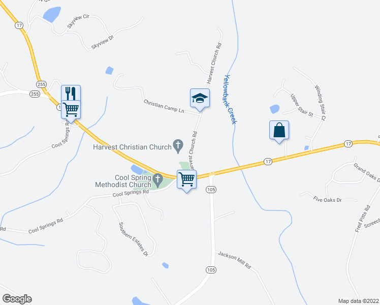 map of restaurants, bars, coffee shops, grocery stores, and more near 231 Harvest Church Road in Clarkesville
