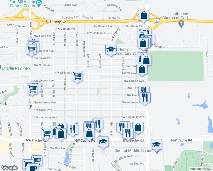 map of restaurants, bars, coffee shops, grocery stores, and more near 1406 Northwest Lincoln Avenue in Lawton