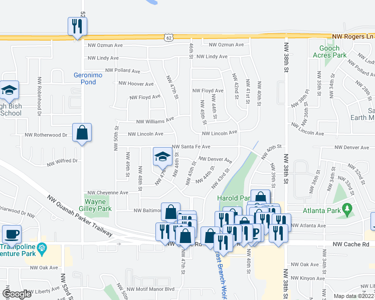 map of restaurants, bars, coffee shops, grocery stores, and more near 4510 Northwest Santa Fe Avenue in Lawton