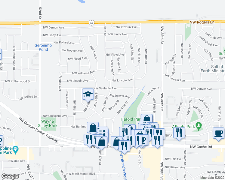 map of restaurants, bars, coffee shops, grocery stores, and more near 4328 Northwest Santa Fe Avenue in Lawton