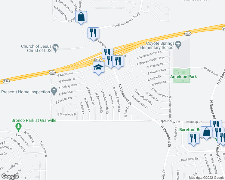 map of restaurants, bars, coffee shops, grocery stores, and more near 6184 North Reata Drive in Prescott Valley