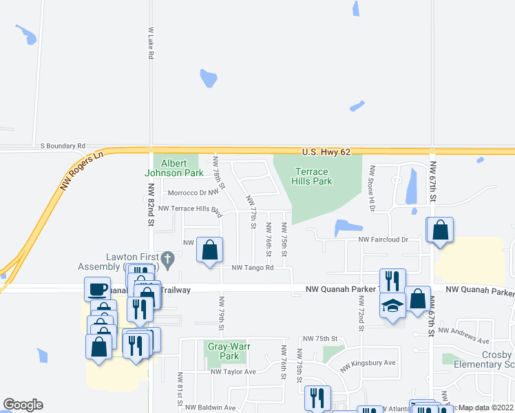 map of restaurants, bars, coffee shops, grocery stores, and more near 7519 Northwest Palomino Drive in Lawton