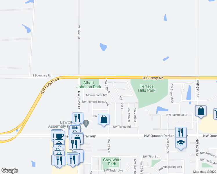 map of restaurants, bars, coffee shops, grocery stores, and more near 7804 Northwest Welco Avenue in Lawton
