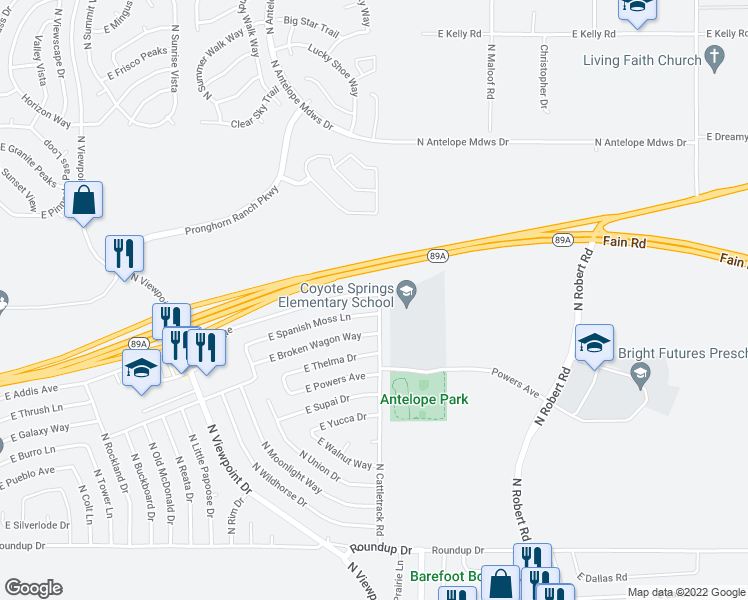 map of restaurants, bars, coffee shops, grocery stores, and more near 7961 East Addis Avenue in Prescott Valley